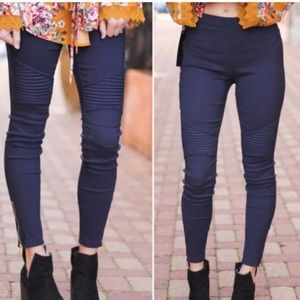 New Mix navy blue moto jeggings. Size small